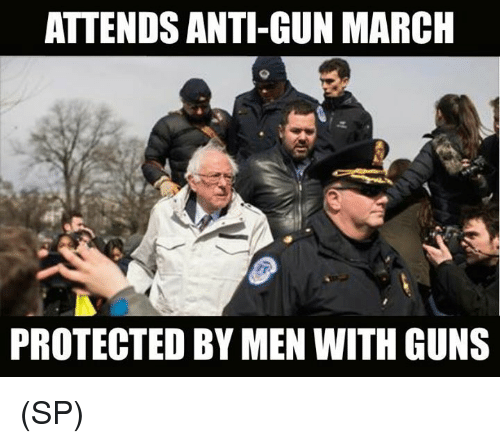 Guns, Memes, and Anti: ATTENDS ANTI-GUN MARCH  PROTECTED BY MEN WITH GUNS (SP)