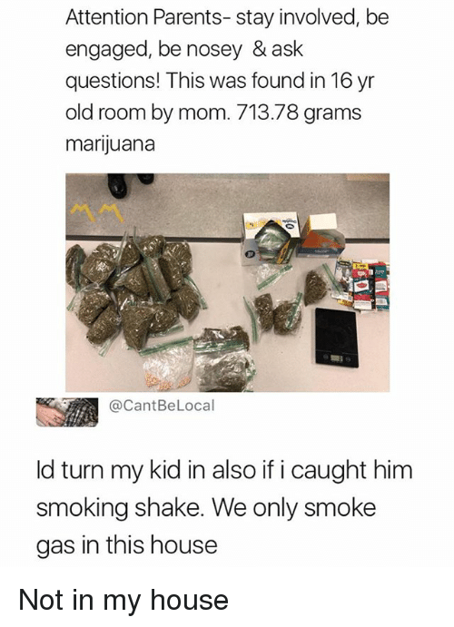 My House, Parents, and Smoking: Attention Parents- stay involved, be  engaged, be nosey & ask  questions! This was found in 16 yr  old room by mom. 713.78 grams  marijuana  @CantBeLocal  ld turn my kid in also if i caught him  smoking shake. We only smoke  gas in this house Not in my house