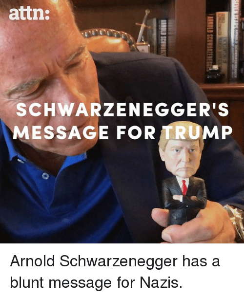 schwarzenegger: attn:  SCHWARZENEGGER'S  MESSAGE FOR TRUMP Arnold Schwarzenegger has a blunt message for Nazis.