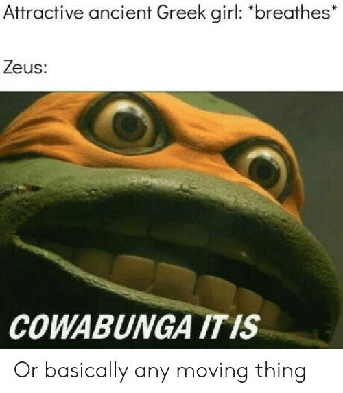 """Girl, Zeus, and Ancient: Attractive ancient Greek girl: """"breathes*  Zeus  COWABUNGA ITIS Or basically any moving thing"""