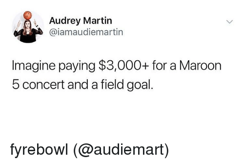 Martin, Goal, and Maroon 5: Audrey Martin  @iamaudiemartin  Imagine paying $3,000+ for a Maroon  5 concert and a field goal. fyrebowl (@audiemart)