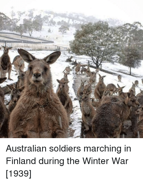 Marching: Australian soldiers marching in Finland during the Winter War [1939]