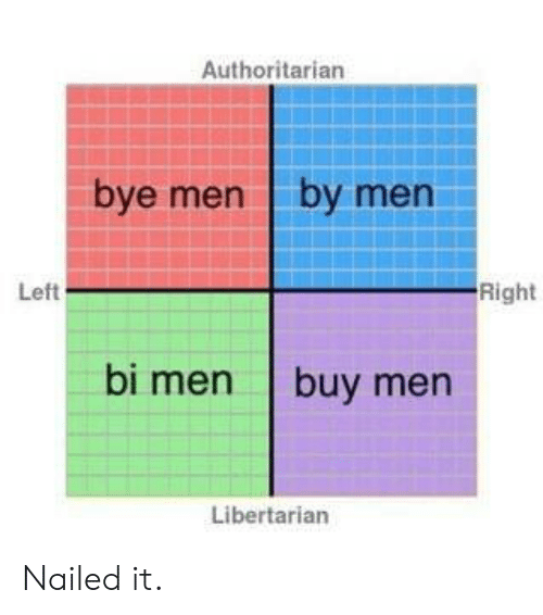 Libertarian, Nailed It, and Men: Authoritarian  bye men by men  Left  Right  bi men buy men  Libertarian Nailed it.