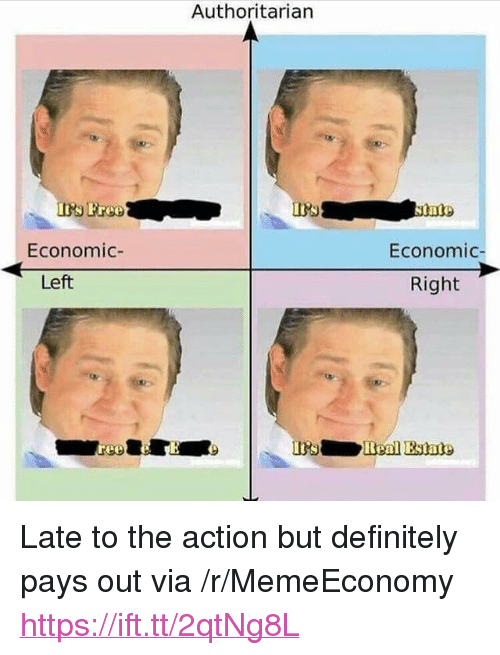 "Definitely, Free, and Via: Authoritarian  Free  Economic-  Economic  Left  Right  Benl Estate <p>Late to the action but definitely pays out via /r/MemeEconomy <a href=""https://ift.tt/2qtNg8L"">https://ift.tt/2qtNg8L</a></p>"