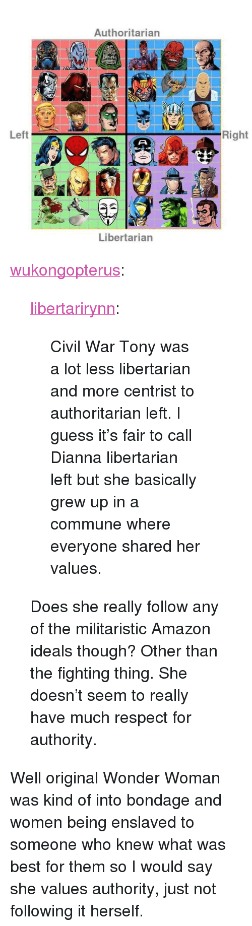 "Amazon, Respect, and Tumblr: Authoritarian  Left  Right  Libertarian <p><a href=""http://wukongopterus.tumblr.com/post/167791668842/libertarirynn-civil-war-tony-was-a-lot-less"" class=""tumblr_blog"">wukongopterus</a>:</p>  <blockquote><p><a href=""https://libertarirynn.tumblr.com/post/167790975239/civil-war-tony-was-a-lot-less-libertarian-and-more"" class=""tumblr_blog"">libertarirynn</a>:</p>  <blockquote><p>Civil War Tony was a lot less libertarian and more centrist to authoritarian left. I guess it's fair to call Dianna libertarian left but she basically grew up in a commune where everyone shared her values.</p></blockquote>  <p>Does she really follow any of the militaristic Amazon ideals though? Other than the fighting thing. She doesn't seem to really have much respect for authority. </p></blockquote>  <p>Well original Wonder Woman was kind of into bondage and women being enslaved to someone who knew what was best for them so I would say she values authority, just not following it herself.</p>"