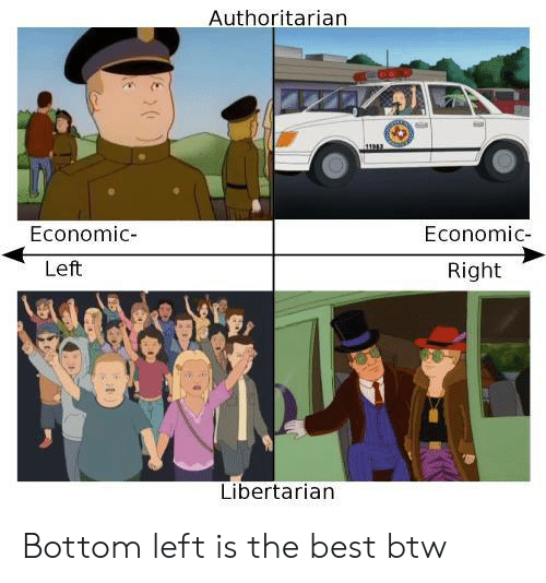 Best, Libertarian, and Economic: Authoritarian  (O  Economic-  Economic-  Left  Right  Libertarian Bottom left is the best btw