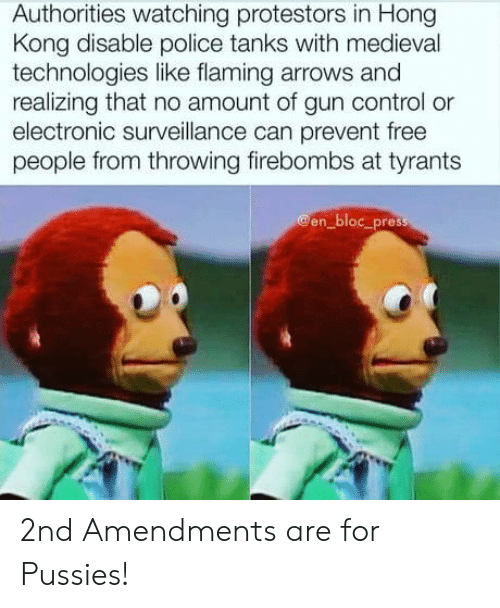 throwing: Authorities watching protestors in Hong  Kong disable police tanks with medieval  technologies like flaming arrows and  realizing that no amount of gun control or  electronic surveillance can prevent free  people from throwing firebombs at tyrants  @en_bloc_press 2nd Amendments are for Pussies!