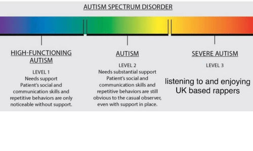 Autism, Rappers, and Spectrum: AUTISM SPECTRUM DISORDER  HIGH-FUNCTIONING  AUTISM  AUTISM  SEVERE AUTISM  LEVEL 2  Needs substantial support  LEVEL 3  LEVEL 1  Needs support  Patient's social and  communication skills and  repetitive behaviors are only  noticeable without support.  coPamiun'tatonisktand listening to and enjoying  social and  communication skills and  repetitive behaviors are still  obvious to the casual observer,  even with support in place.  based rappers