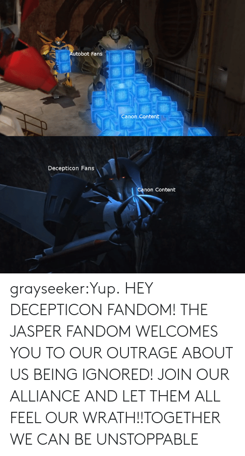 Tumblr, Blog, and Canon: Autobot Fans  Canon Content  Decepticon Fans  Canon Content grayseeker:Yup.  HEY DECEPTICON FANDOM! THE JASPER FANDOM WELCOMES YOU TO OUR OUTRAGE ABOUT US BEING IGNORED! JOIN OUR ALLIANCE AND LET THEM ALL FEEL OUR WRATH!!TOGETHER WE CAN BE UNSTOPPABLE