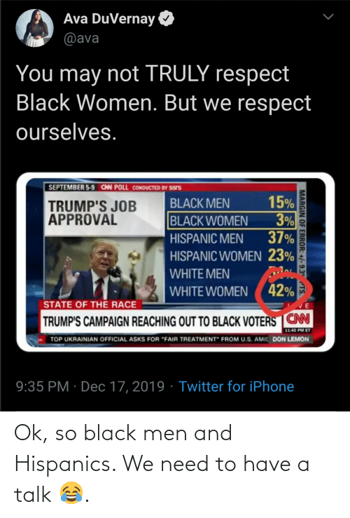 "lemon: Ava DuVernay  @ava  You may not TRULY respect  Black Women. But we respect  ourselves.  SEPTEMBER 5-9 CAN POLL CONDUCTED BY SSIS  15%  3%  37%  BLACK MEN  TRUMP'S JOB  APPROVAL  BLACK WOMEN  HISPANIC MEN  HISPANIC WOMEN 23%  WHITE MEN  WHITE WOMEN ( 42%  STATE OF THE RACE  TRUMP'S CAMPAIGN REACHING OUT TO BLACK VOTERS CN  11:40 PM ET  TOP UKRAINIAN OFFICIAL ASKS FOR ""FAIR TREATMENT"" FROM U.S. AMIC DON LEMON  9:35 PM · Dec 17, 2019 · Twitter for iPhone  MARGIN OF ERROR: +/-9.3° TS. Ok, so black men and Hispanics. We need to have a talk 😂."