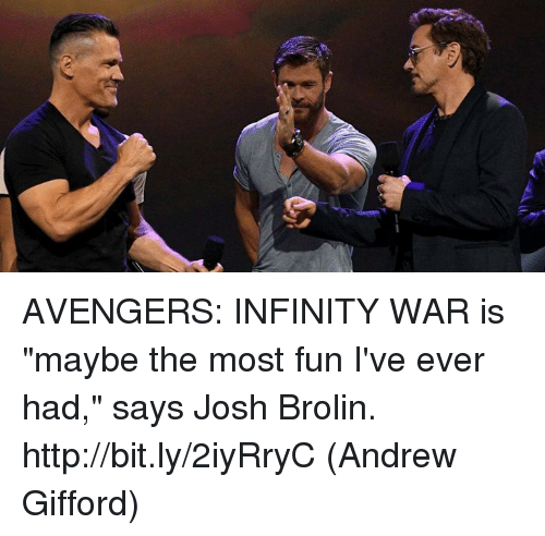 "Memes, Avengers, and Http: AVENGERS: INFINITY WAR is ""maybe the most fun I've ever had,"" says Josh Brolin. http://bit.ly/2iyRryC  (Andrew Gifford)"