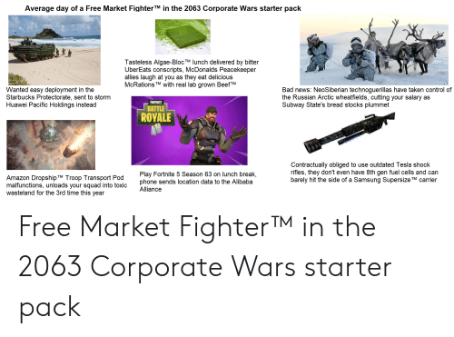 Amazon, Bad, and McDonalds: Average day of a Free Market FighterTM in the 2063 Corporate Wars starter pack  Tasteless Algae-Bloc TM lunch delivered by bitter  UberEats conscripts, McDonalds Peacekeeper  allies laugh at you as  McRations  they eat delicious  with real lab grown BeefTM  TM  Wanted easy deployment in the  Starbucks Protectorate, sent to storm  Huawei Pacific Holdings instead  Bad news: NeoSiberian technoguerillas have taken control of  the Russian Arctic wheatfields, cutting your salary  Subway State's bread stocks plummet  as  FORTNITE  BATTLE  ROYALE  Contractually obliged to use outdated Tesla shock  rifles, they don't  barely hit the side of a Samsung Supersize TM carrier  have 8th gen fuel cells and can  Play Fortnite 5 Season 63 on lunch break,  phone sends location data to the Alibaba  Alliance  Amazon Dropship TM Troop Transport Pod  malfunctions, unloads your squad into toxic  wasteland for the 3rd time this year Free Market Fighter™ in the 2063 Corporate Wars starter pack