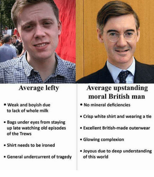 white shirt: Average lefty  Average upstanding  moral British man  .No mineral deficiencies  . Weak and boyish due  to lack of whole milk  . Crisp white shirt and wearing a tie  . Bags under eyes from staying  up late watching old episodes Excellent British-made outerwear  of the Trews  . Glowing complexion  Shirt needs to be ironed  e Joyous due to deep understanding  . General undercurrent of tragedy  of this world