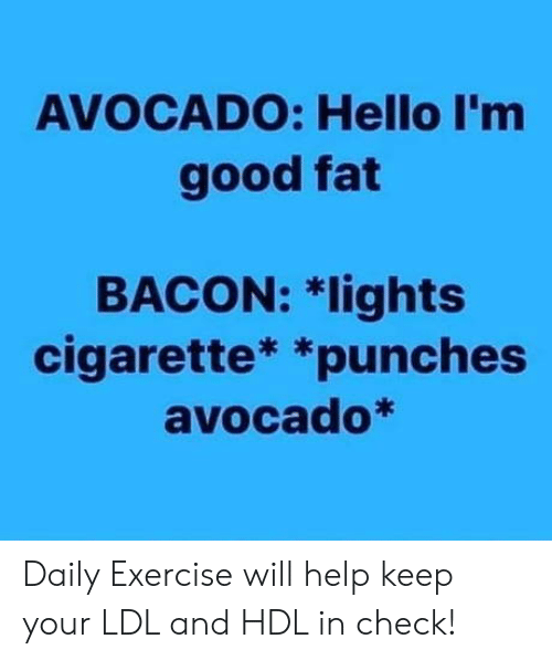 Hello, Avocado, and Exercise: AVOCADO: Hello I'm  good fat  BACON: 치ights  cigarette* *punches  avocado* Daily Exercise will help keep your LDL and HDL in check!