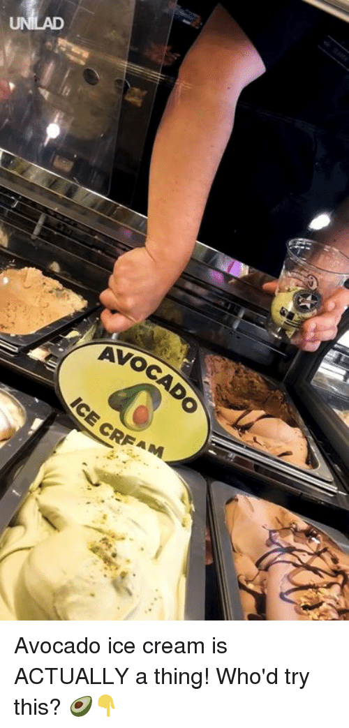 Dank, Avocado, and Ice Cream: Avocado ice cream is ACTUALLY a thing! Who'd try this? 🥑👇