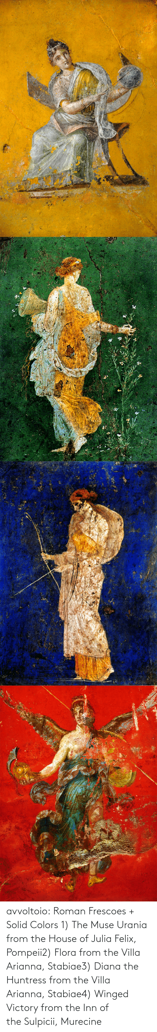 Muse: avvoltoio: Roman Frescoes + Solid Colors 1) The Muse Urania from the House of Julia Felix, Pompeii2) Flora from the Villa Arianna, Stabiae3) Diana the Huntress from the Villa Arianna, Stabiae4) Winged Victory from the Inn of the Sulpicii, Murecine
