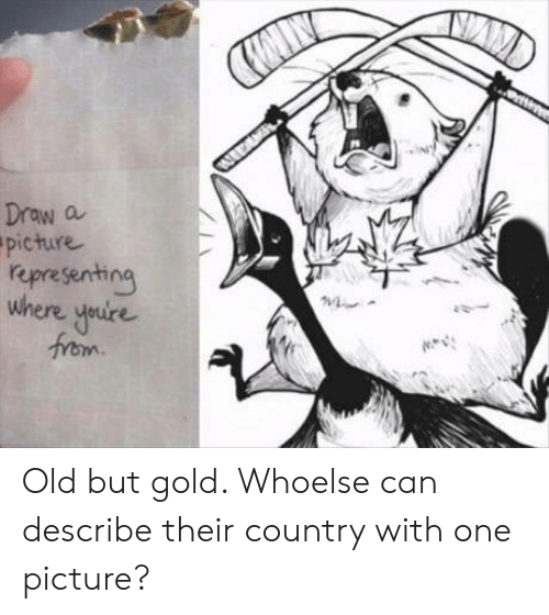 Old, A Picture, and Gold: AW  Draw a  picture  representing  where youire  from Old but gold. Whoelse can describe their country with one picture?