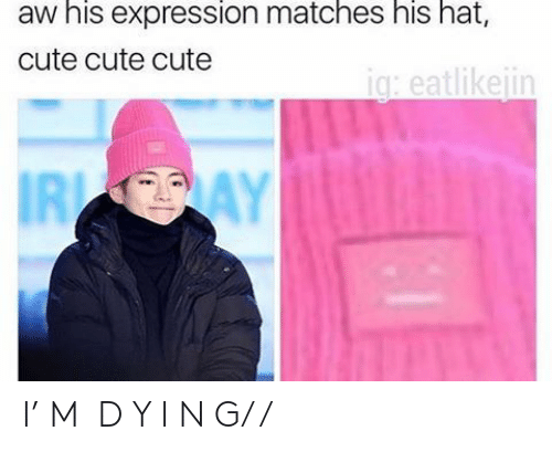 Cute, Hat, and Expression: aw his expression matches his hat,  cute cute cute  ig: eatlikeiin  IRI I' M  D Y I N G/ /