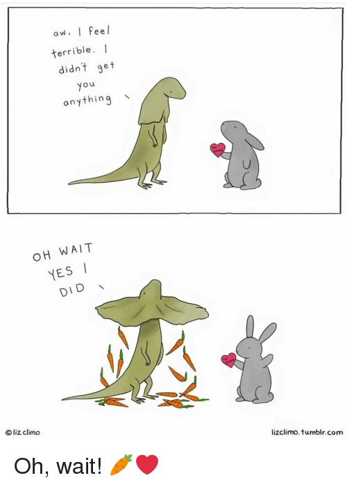 Yesie: aw. I Feel  terrible. I  didnt get  yo  anything  OH WAIT  YESI  DID  O liz climo  lizclimo. tumblr.com Oh, wait! 🥕❤