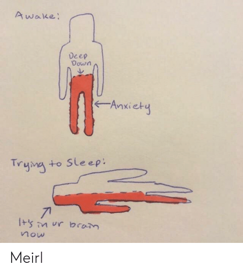 Anxiety, Sleep, and MeIRL: Awake:  Deep  Down  Anxiety  Trymg  +o Sleep:  71  now Meirl