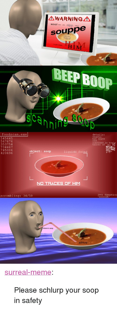 """Vegetal: AWARNINGA  aSO  h okay  souppe  559303011  BEEP BOOP  scannin  foodscan.exe  545645  567676  353754  734467  745006  420696  details:  vegetal  has leafe  red  confined in bowle  traces of  object: soop  liquidd foond  O TRACES OF H  34th dimention  scrombling: 34/50  hhmmm soop  schlurp <p><a href=""""https://surreal-meme.tumblr.com/post/166565239874/please-schlurp-your-soop-in-safety"""" class=""""tumblr_blog"""">surreal-meme</a>:</p>  <blockquote><p>Please schlurp your soop in safety</p></blockquote>"""