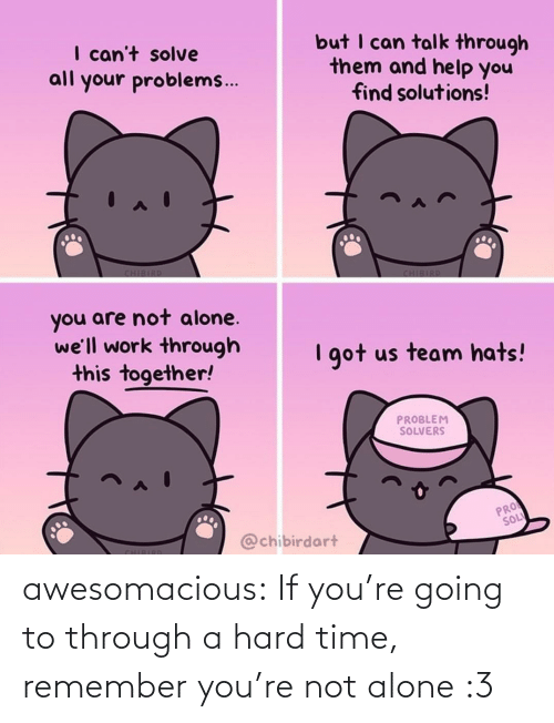 youre: awesomacious:  If you're going to through a hard time, remember you're not alone :3
