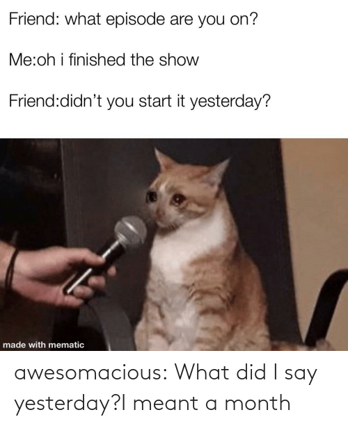 say: awesomacious:  What did I say yesterday?I meant a month