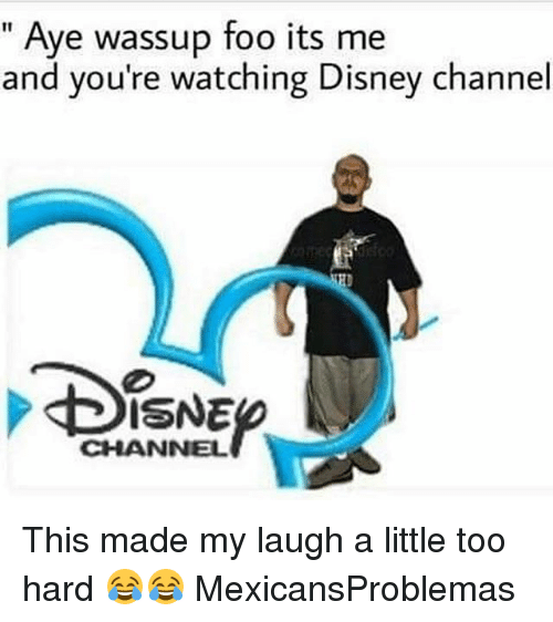 Disney, Memes, and Disney Channel: Aye wassup foo its me  and you're watching Disney channel  ISNE  CHANNEL This made my laugh a little too hard 😂😂 MexicansProblemas