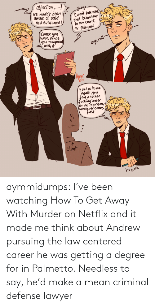 He Was: aymmidumps: I've been watching How To Get Away With Murder on Netflix and it made me  think about Andrew pursuing the law centered career he was getting a  degree for in Palmetto. Needless to say, he'd make a mean criminal  defense lawyer