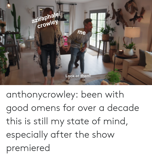 Target, Tumblr, and Blog: aziraphale!  crowley  me  Look at them! anthonycrowley:  been with good omens for over a decade  this is still my state of mind, especially after the show premiered