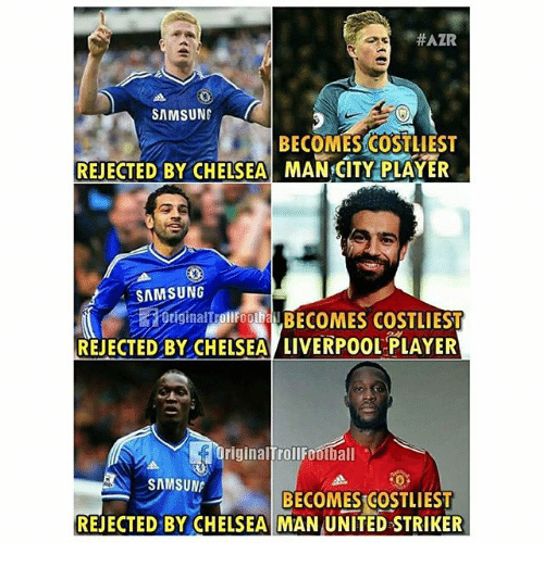 Chelsea, Memes, and Liverpool F.C.:  #AZR  SAMSUNG  BECOMES COSTLIEST  REJECTED BY CHELSEA MAN CITY PLAYER  SAMSUNG  tiginalTrollFootbal  OriginalToliF BECOMES COSTLIEST  REJECTED BY CHELSEA LIVERPOOL PLAYER  OriginalrollF00t all 。  SAMSUN  BECOMES COSTLIEST  REJECTED BY CHELSEA MAN UNITED STRIKER