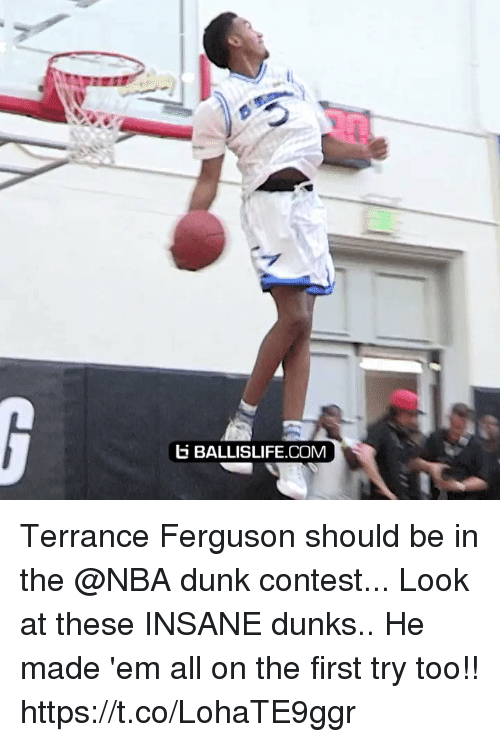 First Try: b BALLISLIFE.COM Terrance Ferguson should be in the @NBA dunk contest... Look at these INSANE dunks.. He made 'em all on the first try too!! https://t.co/LohaTE9ggr