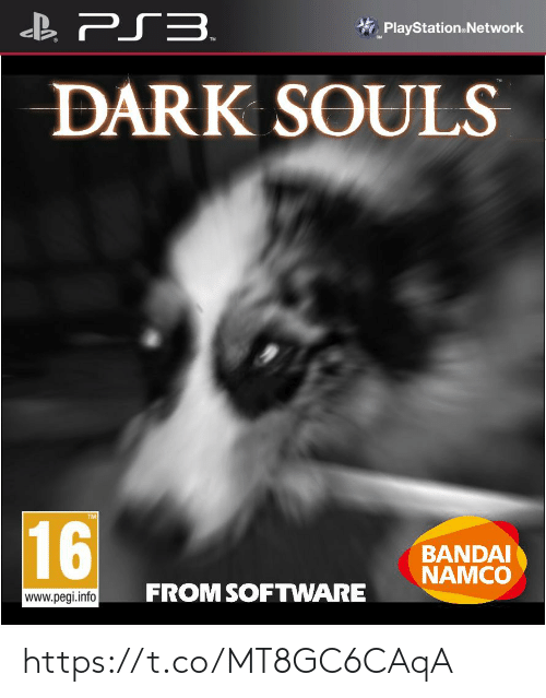 PlayStation: B PS3.  PlayStation.Network  DARK SOULS  16  BANDAI  NAMCO  FROM SOFTWARE  www.pegi.info https://t.co/MT8GC6CAqA