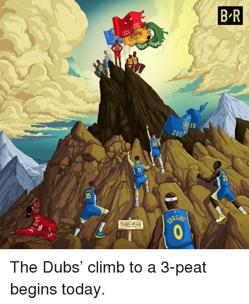 Today, Three, and Pear: B R  1991 : i988  19  2017  30  23  35  THREE-PEAR The Dubs' climb to a 3-peat begins today.