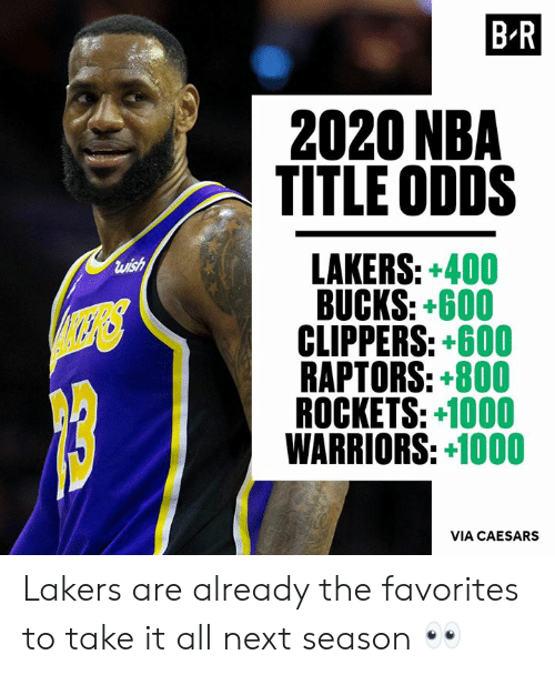 Los Angeles Lakers, Nba, and Clippers: B R  2020 NBA  TITLE ODDS  LAKERS: +400  BUCKS: +600  CLIPPERS: +600  RAPTORS: +800  ROCKETS: +1000  WARRIORS: 1000  luish  VIA CAESARS Lakers are already the favorites to take it all next season 👀