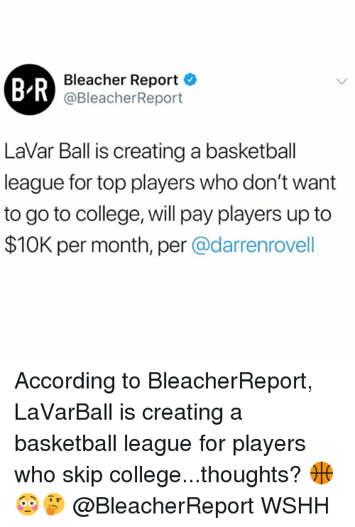 Bleacher Report: B-R  Bleacher Report  @BleacherReport  LaVar Ball is creating a basketball  league for top players who don't want  to go to college, will pay players up to  $10K per month, per @darrenrovell According to BleacherReport, LaVarBall is creating a basketball league for players who skip college...thoughts? 🏀😳🤔 @BleacherReport WSHH