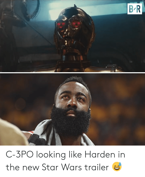 Star Wars, Star, and Looking: B R C-3PO looking like Harden in the new Star Wars trailer 😅