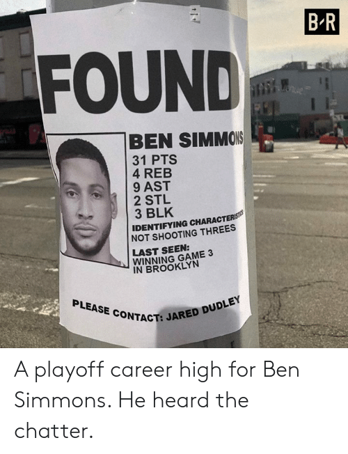 Brooklyn, Game, and Jared: B R  FOUND  BEN SIMMOIS  31 PTS  4 REB  9 AST  2 STL  3 BLK  IDENTIFYING CHARACTERS  NOT SHOOTING THREES  LAST SEEN:  WINNING GAME 3  IN BROOKLYN  PLEASE CONTACT:  CT: JARED DUDLEY A playoff career high for Ben Simmons. He heard the chatter.