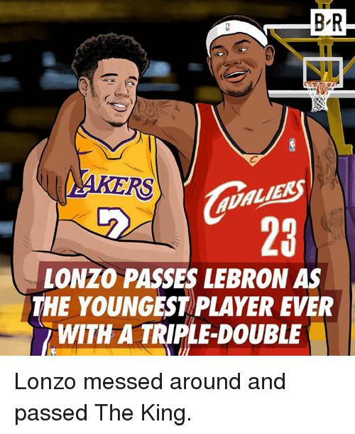 Lebron, Player, and King: B-R  RS  LIEK  23  LONZO PASSES LEBRON AS  THE YOUNGEST PLAYER EVER  WITH A TRIPLE-DOUBLE Lonzo messed around and passed The King.