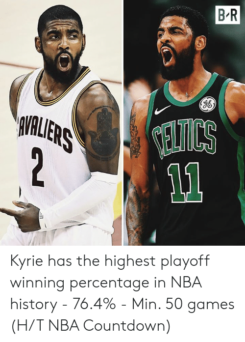 Countdown, Nba, and Games: B R  VALLERS  2  ELTICS Kyrie has the highest playoff winning percentage in NBA history  - 76.4% - Min. 50 games  (H/T NBA Countdown)