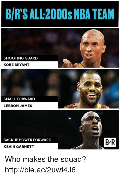 Kobe Bryant, LeBron James, and Nba: B/R'S ALL-2000s NBA TEAM  SHOOTING GUARD  KOBE BRYANT  SMALL FORWARD  LEBRON JAMES  BACKUP POWER FORWARD  B-R  KEVIN GARNETT Who makes the squad?  http://ble.ac/2uwf4J6