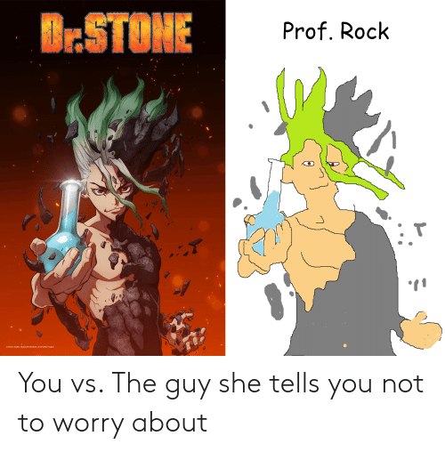 Anime, Rock, and Project: B:STONE  Prof. Rock  J.  WE  Kome Studio, BoichiSHUEISHA Dr STONE Project You vs. The guy she tells you not to worry about