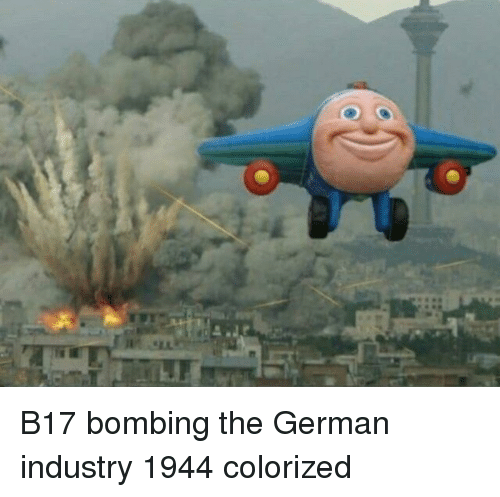 bombing: B17 bombing the German industry 1944 colorized