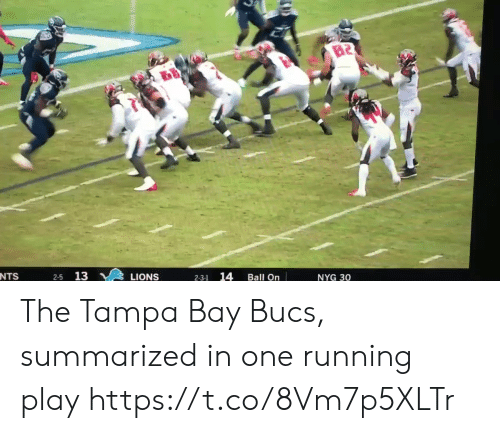 Sports, Lions, and Running: B2  NTS  13  14  LIONS  Ball On  NYG 30  2-3-1 The Tampa Bay Bucs, summarized in one running play https://t.co/8Vm7p5XLTr