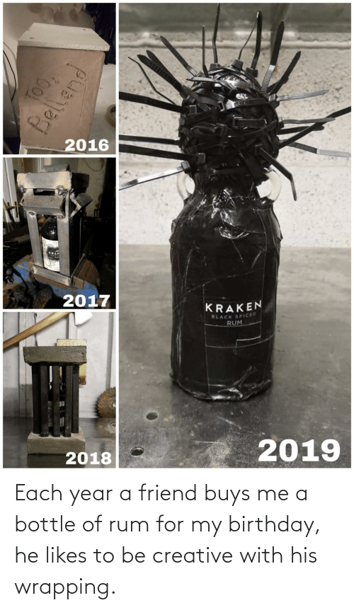 For My Birthday: BA17  2016  KRAK  2017  KRAKEN  BLACK SPICED  RUM  2019  2018  TOO,  Bellend Each year a friend buys me a bottle of rum for my birthday, he likes to be creative with his wrapping.