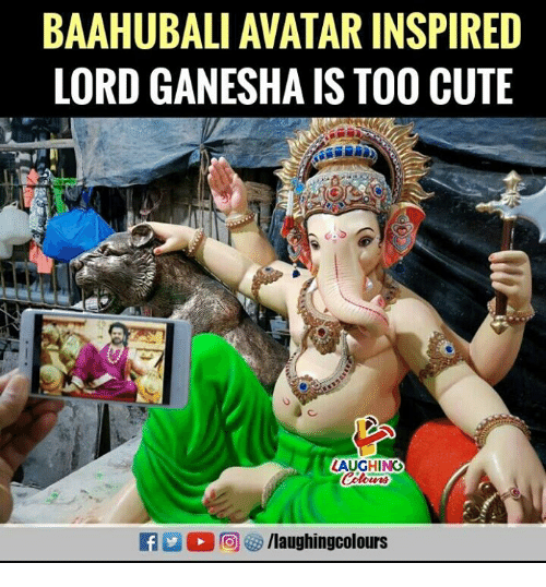 Cute, Avatar, and Ganesha: BAAHUBALI AVATAR INSPIRED  LORD GANESHA IS TOO CUTE  LAUGHING  f/laughingcolours