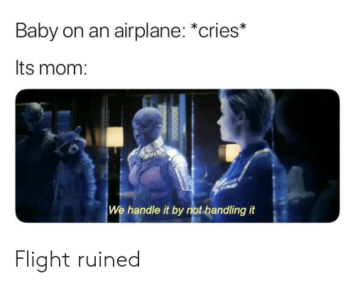 Airplane: Baby on an airplane: *cries*  Its mom:  We handle it by not handling it Flight ruined