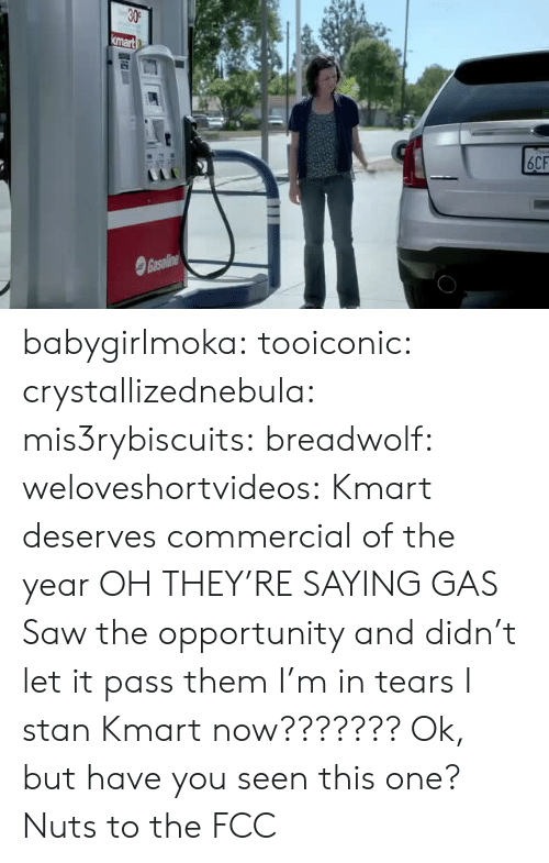 Funny, Saw, and Stan: babygirlmoka:  tooiconic:  crystallizednebula: mis3rybiscuits:  breadwolf:   weloveshortvideos: Kmart deserves commercial of the year OH THEY'RE SAYING GAS   Saw the opportunity and didn't let it pass them  I'm in tears   I stan Kmart now???????  Ok, but have you seen this one?   Nuts to the FCC