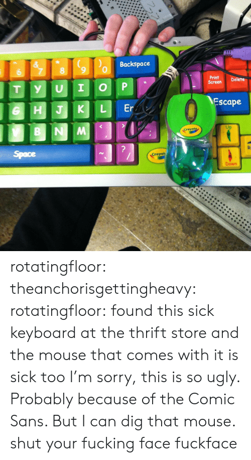 Fucking Face: Backspace  &  7  8  6  Print  Screen  Delete  P  I  U  y  T  Escape  Er  L  HJK  B NM  Crayola  ?  R  Space  Crayol  Down rotatingfloor:  theanchorisgettingheavy:  rotatingfloor:  found this sick keyboard at the thrift store and the mouse that comes with it is sick too  I'm sorry, this is so ugly. Probably because of the Comic Sans. But I can dig that mouse.  shut your fucking face fuckface