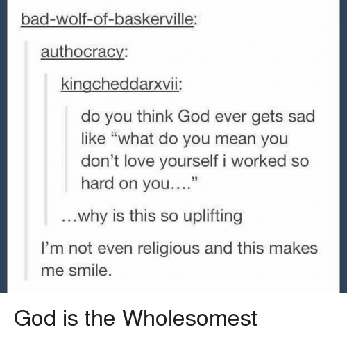 "Bad, God, and Love: bad-wolf-of-baskerville:  authocracv:  kingcheddarxvii:  do you think God ever gets sad  like ""what do you mean you  don't love yourself i worked so  hard on you.""  ..why is this so uplifting  I'm not even religious and this makes  me smile <p>God is the Wholesomest</p>"